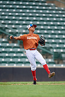 Brenny Escanio (5) throws to first base during the Dominican Prospect League Elite Underclass International Series, powered by Baseball Factory, on July 21, 2018 at Schaumburg Boomers Stadium in Schaumburg, Illinois.  (Mike Janes/Four Seam Images)