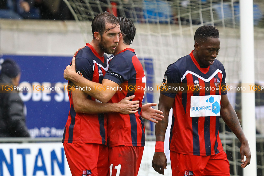 Ricky Willard (left) of Hampton & Richmond Borough celebrates his goal in the first half with Casey Maclaren of Hampton & Richmond Borough during Hampton & Richmond Borough vs AFC Hornchurch, Emirates FA Cup Football at the Beveree Stadium on 6th October 2018