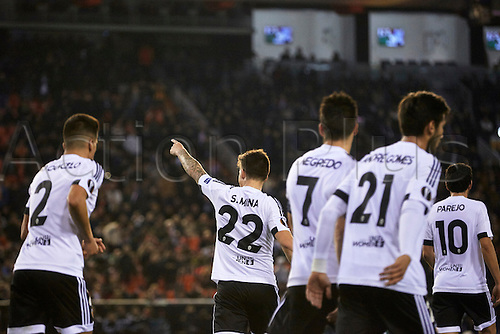 18.02.2016. Mestalla Stadium, Valencia, Spain. Europa League. Valencia versus Rapid Wien. Mina of Valencia CF (L) celebrates after scoring the third goal for his team in the 2th minute for 3-0