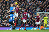 4th November 2017, Villa Park, Birmingham, England; EFL Championship football, Aston Villa versus Sheffield Wednesday; Alan Hutton of Aston Villa and Jordan Rhodes of Sheffield Wednesday compete in the air for the ball