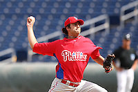 Philadelphia Phillies pitcher Matt Campbell #53 during an Instructional League game against the Toronto Blue Jays at Brighthouse Field on October 7, 2011 in Clearwater, Florida.  (Mike Janes/Four Seam Images)