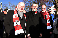 6th February 2020, Munich Riem Airport, Munich, Germany;  Uli Hoeness, Herbert Haimer and Karl Heinz Rummenigge at the laying of the foundation stone for a commemorative display to commemorate the 62nd anniversary of the air crash at the former Munich Riem Airport, in which 23 people died, including eight Manchester United football players