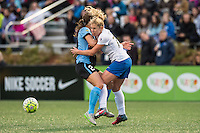 Allston, MA - Saturday, May 07, 2016: Chicago Red Stars forward Jennifer Hoy (2) and Boston Breakers midfielder McCall Zerboni (77) collide during a regular season National Women's Soccer League (NWSL) match at Jordan Field.