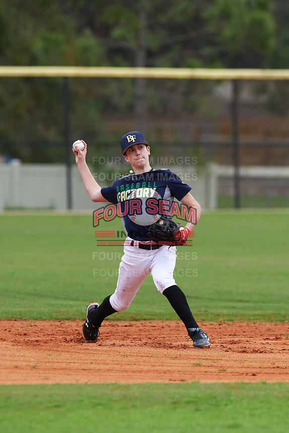 Logan Lunceford (2) of Shawnee, Oklahoma during the Baseball Factory All-America Pre-Season Rookie Tournament, powered by Under Armour, on January 13, 2018 at Lake Myrtle Sports Complex in Auburndale, Florida.  (Michael Johnson/Four Seam Images)