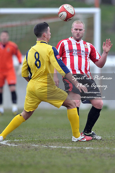 Dave Collis (Hornchurch) puts the ball over Jazz Gold (Croydon). AFC Hornchurch Vs Croydon Athletic. Ryman Premier League. The Stadium. Essex. 05/03/2011. MANDATORY CREDIT Sportinpictures/Garry Bowden