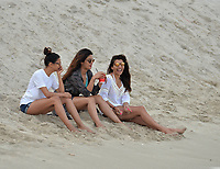 www.acepixs.com<br /> <br /> May 14 2017, Miami<br /> <br /> Actress Priyanka Chopra (wearing the dark robe) enjoys the beach with friends on Mother's Day on May 14, 2017 in Miami Beach, Florida. <br /> <br /> By Line: Solar/ACE Pictures<br /> <br /> ACE Pictures Inc<br /> Tel: 6467670430<br /> Email: info@acepixs.com<br /> www.acepixs.com