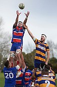 Todd Petrie gets above Willian Furniss to claim the ball at la lineout for Ardmore Marist. Counties Manukau Premier Club Rugby game between Patumahoe and Ardmore Marist, played at Patumahoe on Saturday July 9th 2016.<br /> Ardmore Marist won the game 33 - 24 after leading 18 - 12 at halftime. Photo by Richard Spranger.