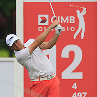 Brice Garnett (USA) on the 12th tee during Round 3 of the CIMB Classic in the Kuala Lumpur Golf & Country Club on Saturday 1st November 2014.<br /> Picture:  Thos Caffrey / www.golffile.ie