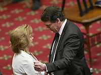 PQ leader Pierre-Karl Peladeau gives his condolences to Lisette Lapointe, wife of former Quebec premier Jacques Parizeau, as her husband lies in state at the National Assembly in Quebec City on Sunday June 7, 2015.<br /> <br /> PHOTO :  Francis Vachon - Agence Quebec Presse