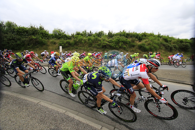 Riders pass through Segre during Stage 3 of the 2016 Tour de France, running 223.5km from Granville to Angers, France . 4th July 2016.<br /> Picture: Eoin Clarke | Newsfile<br /> <br /> <br /> All photos usage must carry mandatory copyright credit (&copy; Newsfile | Eoin Clarke)