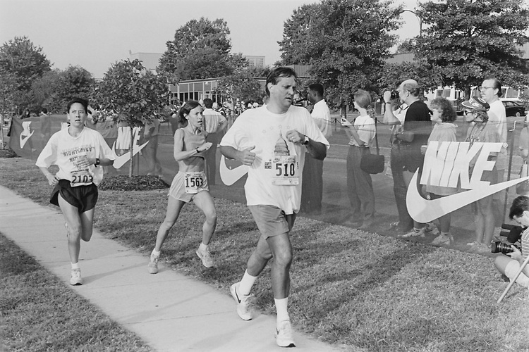 Rep. Lewis F. Payne, D-Va. finishing the Nike Capitol Challenge on Sept. 15, 1993. (Photo by Chris Martin/CQ Roll Call)