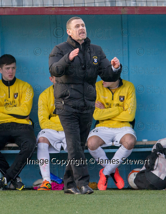 East Fife manager Gary Naysmith. <br /> <br /> <br /> 15/02/2014   jspa016_smuir_v_efife     <br /> Copyright  Pic : James Stewart   <br /> <br /> James Stewart Photography 19 Carronlea Drive, Falkirk. FK2 8DN      Vat Reg No. 607 6932 25   Tel:  +44 (0)7721 416997<br /> E-mail  :  jim@jspa.co.uk   If you require further information then contact Jim Stewart on any of the numbers above........