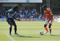 Blackpool's Nathan Delfouneso under pressure from Wycombe Wanderers' Anthony Stewart<br /> <br /> Photographer Kevin Barnes/CameraSport<br /> <br /> The EFL Sky Bet League One - Wycombe Wanderers v Blackpool - Saturday 4th August 2018 - Adams Park - Wycombe<br /> <br /> World Copyright &copy; 2018 CameraSport. All rights reserved. 43 Linden Ave. Countesthorpe. Leicester. England. LE8 5PG - Tel: +44 (0) 116 277 4147 - admin@camerasport.com - www.camerasport.com