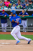 Tennessee Smokies outfielder Jeffrey Baez (33) during a Southern League game against the Biloxi Shuckers on May 25, 2017 at Smokies Stadium in Kodak, Tennessee.  Tennessee defeated Biloxi 10-4. (Brad Krause/Krause Sports Photography)