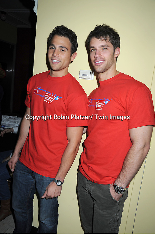 Lenny Platt and David Gregory poses for photo for Soap Opera Digest  at the Daytime Stars and Strikes Charity Bowling Event benefitting the American Cancer Society on .October 9, 2011 at Bowlmor Lanes in Times Square.