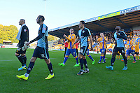 Wycombe Wanderers players Michael Harriman, Luke O'Nien and Aaron Pierre enter the stadium prior to the Sky Bet League 2 match between Mansfield Town and Wycombe Wanderers at the One Call Stadium, Mansfield, England on 31 October 2015. Photo by Garry Griffiths.