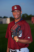 Mahoning Valley Scrappers pitcher Jose Zapata (51) poses for a photo before a game against the Auburn Doubledays on September 4, 2015 at Falcon Park in Auburn, New York.  Auburn defeated Mahoning Valley 5-1.  (Mike Janes/Four Seam Images)