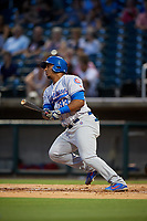 Tennessee Smokies left fielder Jeffrey Baez (33) hits a single during a game against the Birmingham Barons on August 16, 2018 at Regions FIeld in Birmingham, Alabama.  Tennessee defeated Birmingham 11-1.  (Mike Janes/Four Seam Images)