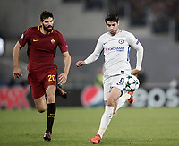 Football Soccer: UEFA Champions League AS Roma vs Chelsea Stadio Olimpico Rome, Italy, October 31, 2017. <br /> Chelsea's Alvaro Morata (r) in action with Roma's Federico Fazio (l) during the Uefa Champions League football soccer match between AS Roma and Chelsea at Rome's Olympic stadium, October 31, 2017.<br /> UPDATE IMAGES PRESS/Isabella Bonotto