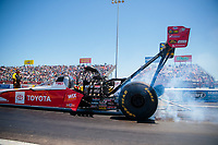 Apr 14, 2019; Baytown, TX, USA; NHRA top fuel driver Doug Kalitta during the Springnationals at Houston Raceway Park. Mandatory Credit: Mark J. Rebilas-USA TODAY Sports