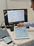 September 23, 2016, Tokyo, Japan - An electronic music sheet management system is shown at the 23rd edition of Tokyo International Book Fair which opens at the Big Site on the Tokyos waterfront on Friday, September 23, 2016. More than one million books will be exhibited by 470 domestic and foreign publishers during the three-day show.  (Photo by Natsuki Sakai/AFLO) AYF -mis-