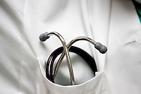 MARIANNA, FL 9/15/09-FSUMED-ROSE CH07-A stethoscope awaits work in the pocket of Amanda Rose, a third-year student in the Florida State University College of Medicine, Sept. 15th at Jackson Hospital in Marianna. .COLIN HACKLEY PHOTO
