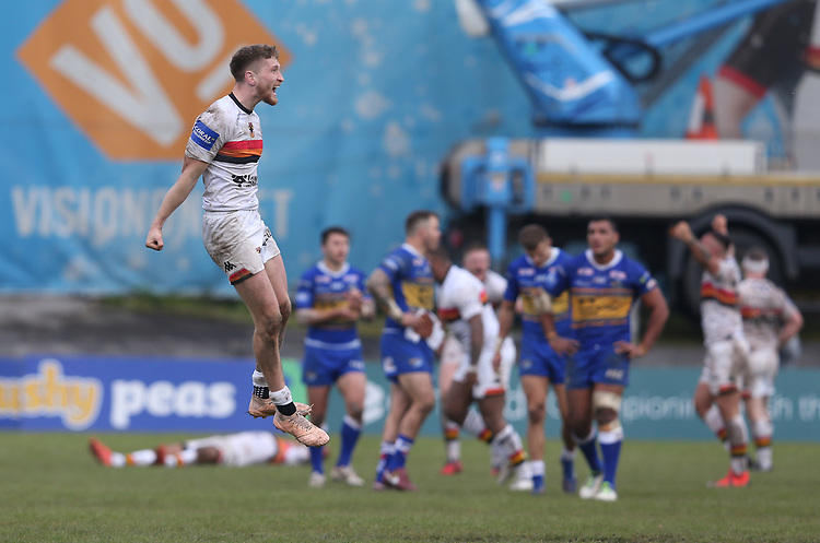 Bradford Bulls's Ethan Ryan celebrates his teams victory at the final whistle <br /> <br /> Photographer Stephen White/CameraSport<br /> <br /> Rugby League - Coral Challenge Cup Sixth Round - Bradford Bulls v Leeds Rhinos - Saturday 11th May 2019 - Provident Stadium - Bradford<br /> <br /> World Copyright © 2019 CameraSport. All rights reserved. 43 Linden Ave. Countesthorpe. Leicester. England. LE8 5PG - Tel: +44 (0 116 277 4147 - admin@camerasport.com - www.camerasport.com