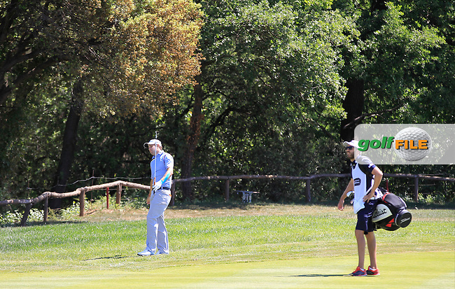 Peter Uihlein (USA) on the 9th fairway during Round 3 of the Open de Espana  in Club de Golf el Prat, Barcelona on Saturday 16th May 2015.<br /> Picture:  Thos Caffrey / www.golffile.ie