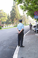 A policeman on guard outside the presidential palace. Podgorica capital. Montenegro, Balkan, Europe.