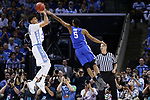 North Carolina Tar Heels forward Justin Jackson shoots a jumper over Kentucky Wildcats guard Malik Monk during the 2017 NCAA Men's Basketball Tournament South Regional Elite 8 at FedExForum in Memphis, TN on Friday March 24, 2017. Photo by Michael Reaves | Staff