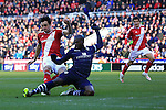 Sol Bamba of Leeds blocks a shot from Kike of Middlesbrough - Middlesbrough vs. Leeds United - Skybet Championship - Riverside Stadium - Middlesbrough - 21/02/2015 Pic Philip Oldham/Sportimage
