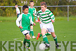National Cup U/12: Listowel Celtic's Sean Connor wins the ball despite the close attention of Ard corney's Nathan Slattery.
