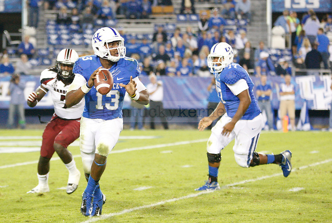 Kentucky Wildcats quarterback Jalen Whitlow (13) during the second half of the University of Kentucky football vs.  South Carolina at Commonwealth Stadium in Lexington, Ky., on Saturday, September 29, 2012. Photo by Tessa Lighty | Staff