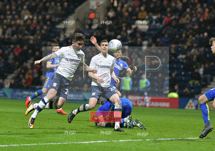 10/04/2018 Sky Bet League Championship Preston North End v Leeds United<br /> <br /> Sean Maguire heads Preston North End's second goal