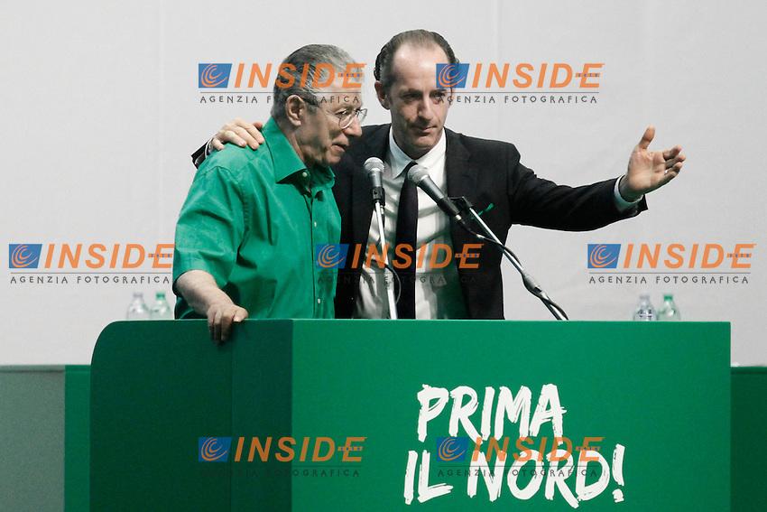 Umberto Bossi e Luca Zaia.Milano  01/07/2012  Giornata conclusiva del Congresso Federale della Lega Nord al Forum di Assago.Foto Serena Cremaschi Insidefoto