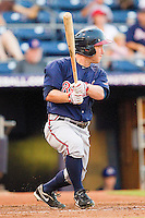 Matt Young #17 of the Gwinnett Braves follows through on his swing against the Durham Bulls at Durham Bulls Athletic Park on July 27, 2011 in Durham, North Carolina.  The Bulls defeated the Braves 4-0.   (Brian Westerholt / Four Seam Images)