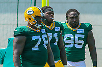 Green Bay Packers defensive tackle Mike Daniels (76), defensive tackle Izaah Lunsford (71) and defensive tackle Ricky Jean Francois (95) during a training camp practice on August 15, 2017 at Ray Nitschke Field in Green Bay, Wisconsin.   (Brad Krause/Krause Sports Photography)
