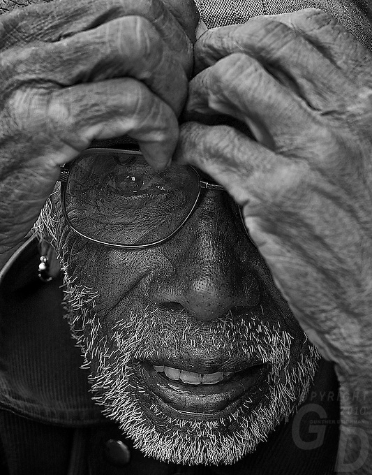 Black & White of old man at Bungamati Village, Nepal, Kathmandu