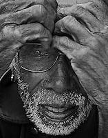 Black & White of old man at Bungamati Village, Nepal, Kathmandu