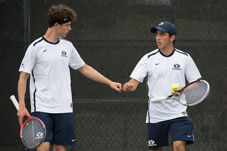 April 22, 2015; San Diego, CA, USA; BYU Cougars tennis players Francis Sargeant (left) and Juan Canales (right) during the WCC Tennis Championships at Barnes Tennis Center.