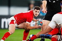 1st November 2019, Tokyo, Japan;  Tomos Williams (WAL) looks to pass along his line;  2019 Rugby World Cup 3rd place match between New Zealand 40-17 Wales at Tokyo Stadium in Tokyo, Japan.  - Editorial Use
