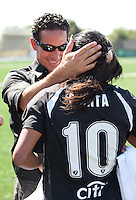 Albertin Montoya celebrates with Marta after the game. FC Gold Pride defeated the Philadelphia Independence 4-0 to win the 2010 WPS Championship at Pioneer Stadium in Hayward, California on September 26th, 2010.