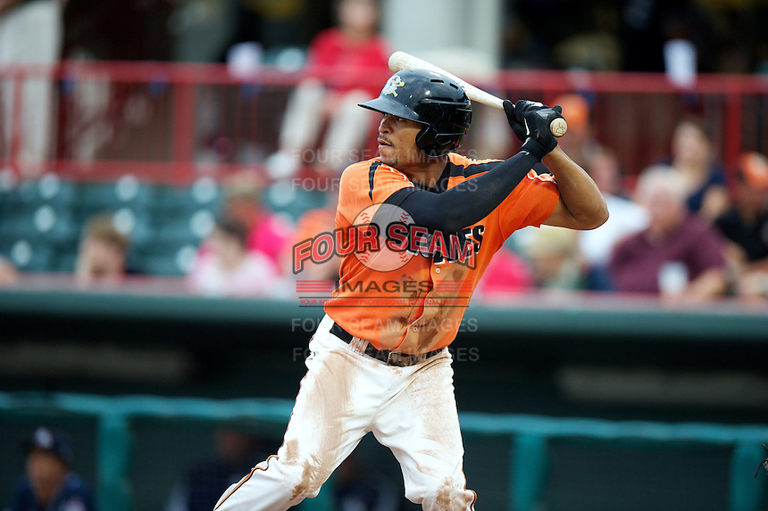 Erie Seawolves outfielder Daniel Fields #10 during an Eastern League game against the New Hampshire Fisher Cats at Jerry Uht Park on August 9, 2012 in Erie, Pennsylvania.  Erie defeated New Hampshire 6-0.  (Mike Janes/Four Seam Images)