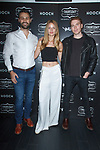 Left to right Connor Wilson, model Linda Vojtova, and Nolan Walsh attend the Thursday Boot Company Presentation at Vandal on September 13, 2017 in New York City.
