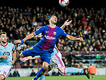 Luis Alberto Suarez Diaz (R) of FC Barcelona competes for the ball with Andreu Fontas Prat of RC Celta de Vigo during the Copa Del Rey 2017-18 Round of 16 (2nd leg) match between FC Barcelona and RC Celta de Vigo at Camp Nou on 11 January 2018 in Barcelona, Spain. Photo by Vicens Gimenez / Power Sport Images