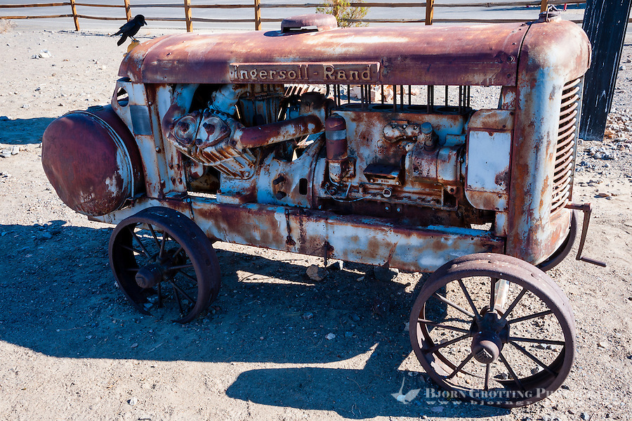 United States, California, Death Valley. Old engine at Stovepipe Wells, the small way-station in the northern part of Death Valley.