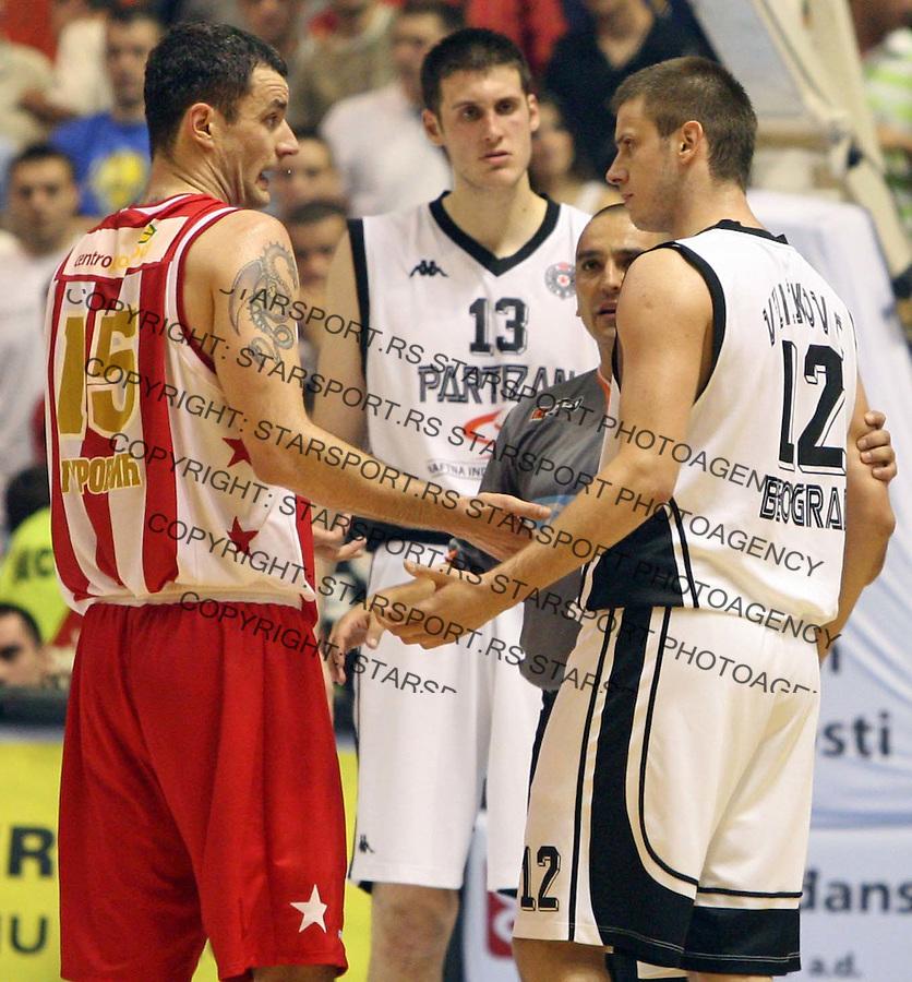 Sport Kosarka Nasa Sinalko Super Liga Play off Plej Of Serbia Crvena Zvezda Partizan Milan Gurovic i  Novica Velickovic 17.6.2007. photo: Pedja Milosavljevic