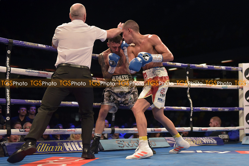 Jordan Gill (white shorts) defeats Ryan Doyle during a Boxing Show at the Copper Box Arena on 27th October 2018