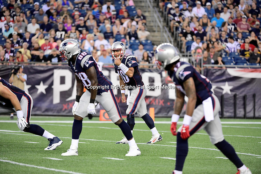 Thursday August 11, 2016: New England Patriots quarterback Jimmy Garoppolo (10) checks his offensive line during an NFL pre-season game between the New Orleans Saints and the New England Patriots held at Gillette Stadium in Foxborough Massachusetts. The Patriots defeat the Saints 34-22 in regulation time. Eric Canha/CSM