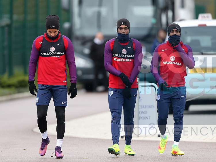 England's Kyle Walker, Daniel Sturridge and Danny Rose during training at Tottenham Hotspur training centre, London. Picture date November 14th, 2016 Pic David Klein/Sportimage